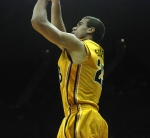 Mizzou guard Justin Safford hits a clutch jumper just inside the 3-point line during the second half of Mizzou's 111-102 overtime loss to Georgetown at the Sprint Center in Kansas City on Tuesday night. (Photo by Ross Taylor)