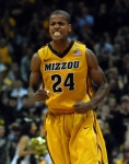 Mizzou guard Kim English celebrates a late second-half basket in Mizzou's 111-102 overtime loss to Georgetown at the Sprint Center in Kansas City on Tuesday night. (Photo by Ross Taylor)