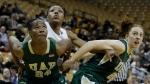 Shakara Jones, rear, works against two UAB defenders. Jones finished with 9 rebounds.