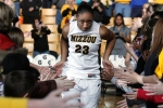 Missouri point guard RaeShara Brown being introduced at the start of the game.