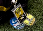 Identification tags, including one from NCAA tournament play, adorn Lindsey Muller's athletic bag. (Photo by Karen Mitchell)