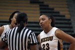 RaeShara Brown and Jasmyn Otote have a few words with to one of the referees in the final minutes of the game. Brown and Otote combined for personal three fouls on the night.