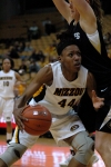 Shakara Jones drives to the basket for a layup. Jones had seven points and six rebounds in 37 minutes.