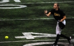Kristin Nottleman throws a pitch during Mizzou's Black & Gold game. (Photo by JJ Stankevitz)
