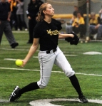 Kristin Nottleman delivers a pitch during her outing in Mizzou's Black & Gold game. Nottleman tossed five scoreless innings. (Photo by JJ Stankevitz)