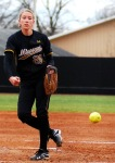 Mizzou pitcher Kristen Nottelman lost her no-hitter in the final inning of play in Mizzou's victory over Western Michigan 10-0 in Columbia on March 18, 2011.