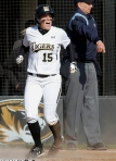 Maddison Ruggeberg celebrates after scoring in the fifth inning, giving Missouri the 2-1 lead.
