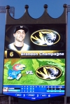 Mizzou outfielder Brannon Champagne's name was misspelled on the jumbotron at Kauffman Stadium. (Photo by JJ Stankevitz)