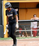 Mizzou hitter Rhea Taylor strikes out against Keilani Ricketts of Oklahoma in an eventual Tigers' victory in Columbia on Sunday. (Photo by Nick Gerhardt)