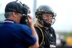 Mizzou catcher Megan Christopher prepares for extra-inning play in the top of the eighth. (Photo by Nick Gerhardt)