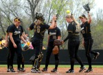 Mizzou's infielders perform a routine repeated before each defensive possession during the Tigers' extra-inning win over Oklahoma Sunday. (Photo by Nick Gerhardt)