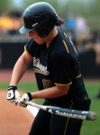 Mizzou third baseman Nicole Hudson's Demarini bat mid-swing, just before snapping forward for a fifth inning single to center field. (Photo by Nick Gerhardt)