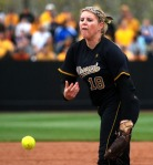 Mizzou pitcher Chelsea Thomas threw 11 scoreless innings and struck out 17 Sooners. (Photo by Nick Gerhardt)