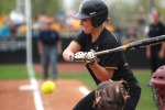 Mizzou hitter Nicole Hudson freezes on a Keilani Ricketts change-up, called for the third strike. Ricketts froze up Mizzou hitters on the third strike four times in the contest.  (Photo by Nick Gerhardt)
