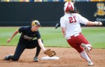 Mizzou shortstop Jenna Marston tags out Oklahoma runner Dani Dobbs, 21. Dobbs attempted to steal second but catcher Megan Christopher's throw arrived well ahead of the runner. (Photo by Nick Gerhardt)