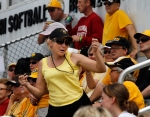 Sarah Froese dances between innings.