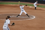 Kristin Nottelmann pitches in Mizzou's first game against Illinois State Saturday. Also on the field are Nicole Hudson (8) at third base and Ashley Fleming at first base.