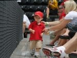 This fan from Illinois State was one of the smallest fans at the tournament.