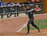 Rhea Taylor does a home run dance as she nears home plate in the second game on Sunday.
