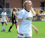 Kelsey Blincow reacts to a missed goal that would have tied the game against Purdue in the first half.