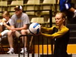 Defensive specialist Ashton Bodenstab gets ready to serve in Mizzou's match against Tulane.  (Photo by Andrew Wamboldt)