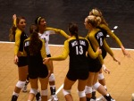 Missouri players celebrate after winning their match against Tulane 3-0.  (Photo by Andrew Wamboldt)
