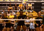 Missouri players move around in an attempt to distract the Tulane server.  (Photo by Andrew Wamboldt)