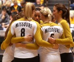 The Missouri Tigers celebrate a kill. Missouri improved to 16-7 overall and 3-4 in Big 12 play.