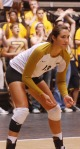 Freshman outside hitter Emily Wilson (13) awaits the serve from the Red Raiders. Wilson struggled against Texas Tech, notching six kills on 20 attempts.