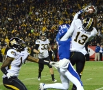 Missouri safety Kenji Jackson (13) intercepts the ball on the goal line. The defense had two interceptions.