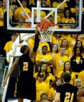 Kennesaw State's Markeith Cummings (2) dunks in the second half of Mizzou's 104-67 blowout victory at Mizzou Arena.