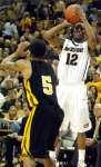 Mizzou guard Marcus Denmon (12) finished with 17 points and a season-high four steals.