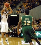 Mizzou's Matt Pressey (3) hit five of his six shot attempts including this three-pointer in the second half.