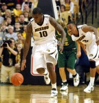 Mizzou forward Ricardo Ratliffe (10) leads a fast break on his way to two of his 11 points.
