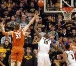 Texas center Clint Chapman (53) shoots over Ricardo Ratliffe (10). Chapman played only 16 minutes after getting in foul trouble early.
