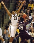 Steve Moore (32) defends Aggies forward Ray Turner (35). Texas A&M fell to 10-7 overall and 1-4 in Big 12 play with the loss.