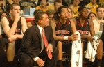 Texas Tech coach Billy Gillispie, senior Robert Lewandowski, freshman Terran Petteway and Jordan Tolbert look on with concerned faces being down seven at halftime. Texas Tech is still winless in Big 12 conference play on the season with a record of 0-8 after Saturday's loss to the Tigers.