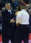 Wildcats' coach Frank Martin and Tigers' coach Frank Haith meet after the game to shake hands. The Wildcats won 78-68 against the Tigers in what could be the last match up between the two teams at Mizzou Arena Tuesday, Feb. 21, 2012.