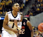 Phil Pressey attempts a no-look pass in the second half. With seven assists Wednesday, Pressey is just 26 assists shy of Missouri's single-season record record set by Anthony Peeler in 1989-1990.