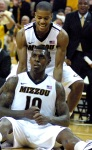 Ricardo Ratliffe and Kim English celebrate Missouri's 83-65 win against Oklahoma State on Wednesday, Feb. 15, 2012. Ratliffe's 15 points and 12 rebounds helped MU's senior class achieve a record 101 career wins.