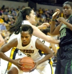 BreAnna Brock secures the defensive rebound for Mizzou. After struggling the last few games, Brock recorded five rebounds, and shot 50 percent from the field.