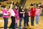 Mizzou partnered with the Komen Foundation on Tuesday night to raise money for breast cancer awareness. Breast cancer survivors from mid-Missouri were introduced at halftime.