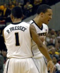Michael Dixon celebrates with Phil Pressey during Missouri's 78-72 win at Mizzou Arena on Wednesday, Feb. 29, 2012. Dixon scored a game-high 21 points on eight of 10 shooting.