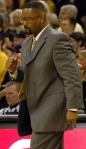 Missouri coach Frank Haith pumps his fist as the Tigers start to cut a second half deficit versus the Iowa State Cyclones. The 78-72 win against the Cyclones gives the Tigers a one game lead on Baylor in the race for second in the Big 12.