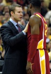 Cyclones coach Fred Hoiberg pulls junior forward Anthony Booker aside to calm him down after a technical foul was called on Booker. The Cyclones committed six more fouls than the Tigers which led to a 23-7 free-throw attempt difference.