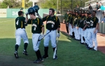 Baylor's Nathan Orf (4) is congratulated on his lead-off home run in the first inning against Missouri on Friday, April 6, 2012, in Columbia, Mo.