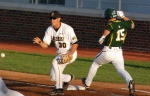 Gavin Stark fails to put out Baylor's Adam Toth in the fourth inning with the score still 1-0.