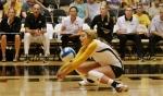 Sarah Meister handles a serve. Meister returned to the team after serving a suspension.