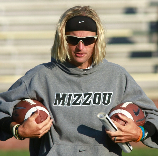 Assistant coach and offensive coordinator David Yost. August 11, 2012 on Faurot Field. Photo by Karen Mitchell
