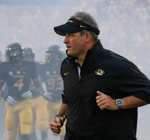Coach Gary Pinkel runs out with the team before Missouri's game against Alabama on Saturday, Oct. 13, 2012 in Columbia, Mo. Photo by Karen Mitchell